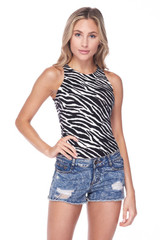 Front of Brushed Zebra Print Mock Neck Bodysuit shown paired with distressed denim shorts.
