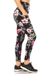 Right side of High Waisted Graceful Floral Sports Leggings with Side Pockets