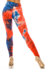 Back side image of Buttery Soft Red and Blue Tie Dye High Waisted Leggings with a fabulous look for everyday or patriotic holidays.