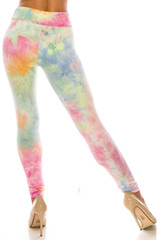 Back side image of Buttery Soft Multi-Color Pastel Tie Dye High Waisted Leggings  showing off the stunning continued design.