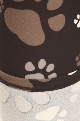 Close up of Creamy Soft Muddy Paw Print Kids Leggings - USA Fashion™ showing inner and outer fabric views