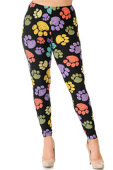 Front of Creamy Soft Colorful Paw Print Extra Plus Size Leggings - 3X-5X - USA Fashion™ with a mud rise comfort elastic waist.