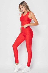 Left side of Red 2 Piece Scrunch Butt Leggings and Crop Top Set