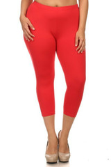 Front side image of Red Buttery Soft Solid Basic Extra Plus Size Capris - 3X-5X - New Mix