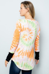 Orange Tie Dye Contrast Cuff Long Sleeve Plus Size V Neck Top