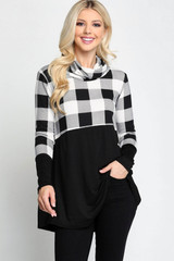 Split Buffalo Plaid Contrast Cowl Neck Long Sleeve Plus Size Top