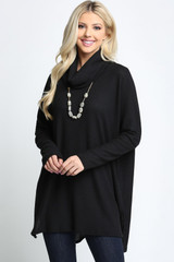 Black Waffle Knit Cowl Neck Dolman Sleeve Plus Size Top