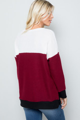Burgundy Waffle Knit Color Blocked Long Sleeve V Neck Top