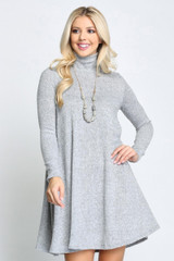 Heather Grey Long Sleeve Hacci Knit Mock Neck Swing Dress