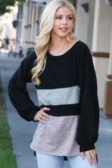 Black Hi-Low Color Blocked Long Sleeve Top