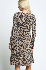 Taupe -Leopard  Long Sleeve Midi Dress