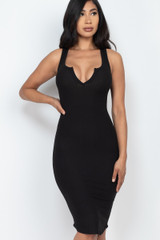 Sleeveless Split V Neckline Rib Knit Bodycon Midi Dress