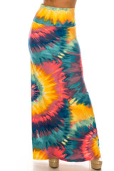 Buttery Soft Multi-Color-Bold Tie Dye Maxi Skirt