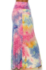 Buttery Soft Multi-Color Pastel Tie Dye Maxi Skirt