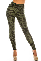 Dark Olive Camouflage Scrunch Butt Sport Leggings