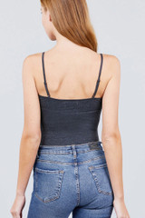 Charcoal Basic Solid Spaghetti Strap Cotton Bodysuit