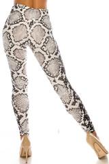 Creamy Soft Ivory Python Plus Size Leggings - USA Fashion™