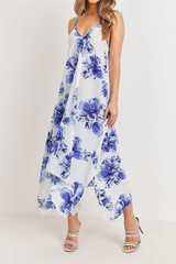 Blue Floral Tie Back Asymmetrical Hem Maxi Dress