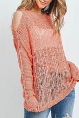 Coral Sheer Crochet Detail Cold Shoulder Sweater
