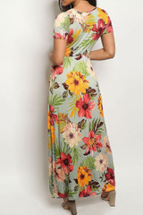 Floral Wrapped V-Neck Hi-Low Short Sleeve Maxi Dress with Waist Tie