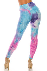 Pink and Blue Tie Dye Scrunch Butt Sport Leggings