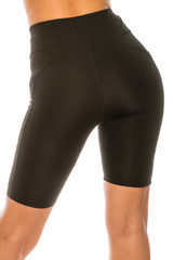 Solid Black High Waist Sport Biker Shorts with Pockets