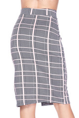 Baby Pink Glen Plaid Plus Size Midi Pencil Skirt with Front Slit
