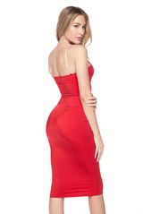 Red Crystal Spaghetti Strap Satin Bodycon Midi Dress