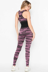 2 Piece Seamless Pink Camouflage Bra Top and Leggings Sport Set
