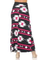 Mint on Black Aztec Tribal Buttery Soft Maxi Skirt