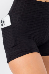 Black Solid Textured Scrunch Butt Sport Shorts with Pockets