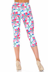 Creamy Soft Pink and Blue Sunshine Floral Extra Plus Size Capris - 3X-5X - USA Fashion™
