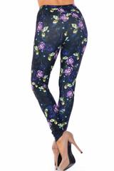 Creamy Soft Purple and Violet Rose Extra Plus Size Leggings - 3X-5X - USA Fashion™