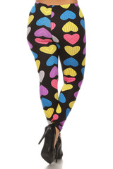Buttery Soft Colorful Hearts Plus Size Leggings