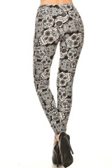 Buttery Soft Charcoal Sugar Skull Extra Plus Size Leggings - 3X-5X
