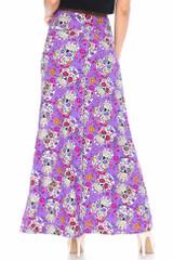 Buttery Soft Purple Sugar Skull Maxi Skirt