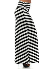 Wide Stripe Rayon Maxi Skirt - Plus Size
