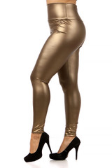 Gold Matte High Waisted Gold Faux Leather Plus Size Leggings