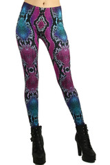 Colored Snakeskin Leggings