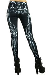Black Mechanical Skeleton Leggings