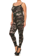 Camouflage Spaghetti Strap Jumpsuit - Plus Size