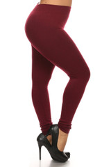 Burgundy French Terry Leggings - Plus Size