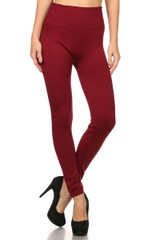 Burgundy Banded High Waisted Fleece Lined Leggings