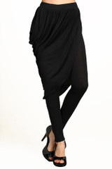 Asymmetrical Draped Skirt Leggings