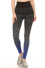 Blue Dipped Ombre Workout Leggings
