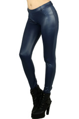 Blue Matte Liquid Jean Style Leggings