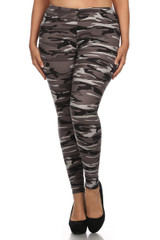Shades of Gray Camouflage Leggings - Plus Size
