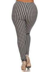 Comfy Houndstooth Lined Plus Size Leggings