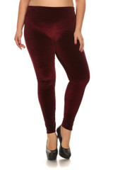 High Waisted Velvet Leggings - Plus Size