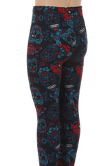 Wholesale Buttery Soft Blue Sugar Skulls Kids Leggings
